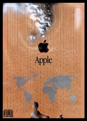 PANNELLO INOX - W.W. APPLE - 01-04-1976 - Il Mondo Nuovo - Aldous Huxley - (acciaio) -  50 x70 cm. - acciaio e smalti - 2016