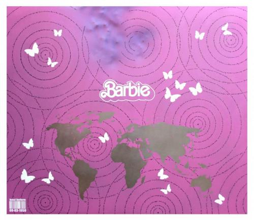 PANNELLO INOX - W.W. BARBIE - Bocca di Rosa - (acciaio) (F3) - 86 x75 cm. - acciaio e smalti - 2016