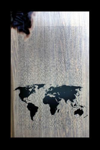 W.W.B. - Tavola - Diacorso sulla crisi 1955 - A. Einstein - Legno, carbone, smalto - dim. 88 x 54 x 5 - 2013