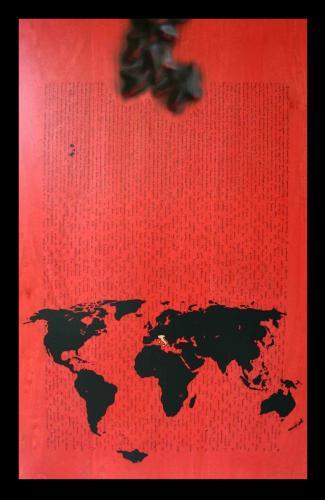 W.W.B. - Tavola - Se questo è un uomo - P. Levi - (Vers. II) - Legno, carbone, smalto e foglia d'oro - dim. 87 x 56 x 4 - 2013