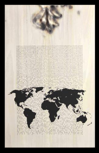 W.W.B. - Tavola - Siddharta - H. Hesse - (F2) Legno, carbone, smalto - dim. 85 x 55 x 4 - 2014