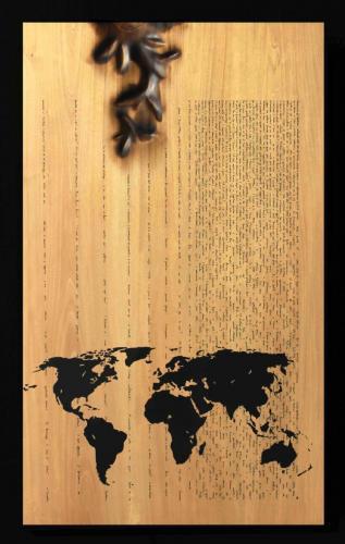 W.W.B. - Tavola Pirandello-  sei personaggi in cerca d autore - Legno, carbone, smalto - dim. 90 x 55 x 4 - 2013